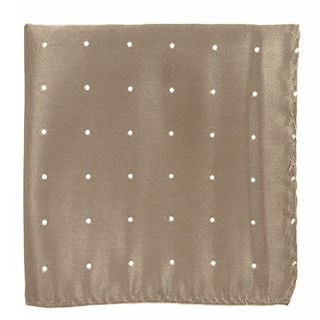 Satin Dot Champagne Pocket Square