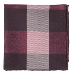 West Bison Plaid Burgundy Pocket Square