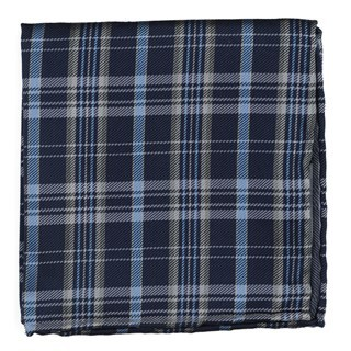 Andersen Plaid Navy Pocket Square