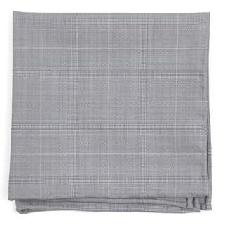 Neutral Streak Plaid Silver Pocket Square