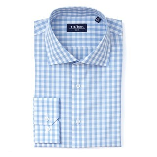 Classic Gingham Sky Blue Non-Iron Dress Shirt