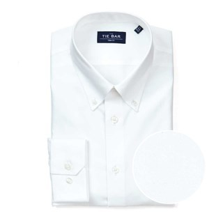 Pinpoint Solid - Button-Down Collar White Non-Iron Dress Shirt
