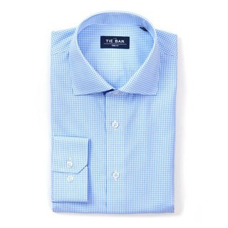 Petite Gingham Sky Blue Non-Iron Dress Shirt