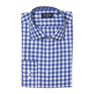 Large Gingham Textured Classic Blue Non-Iron Dress Shirt