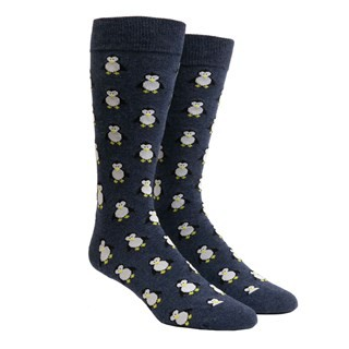Cool Penguins Navy Dress Socks