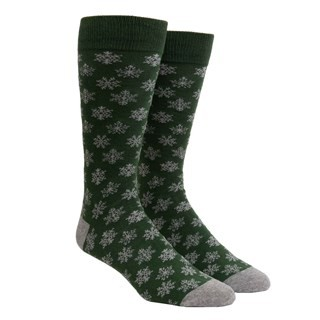 Snowy Snowflakes Hunter Green Dress Socks