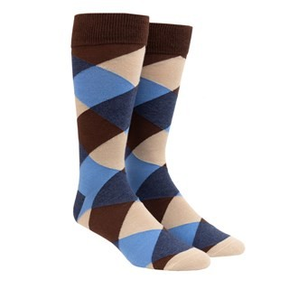 Rohrer Plaid Chocolate Brown Dress Socks
