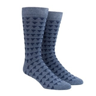 Triangle Geo Slate Blue Dress Socks