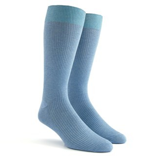 Ribbed Powder Blue Dress Socks