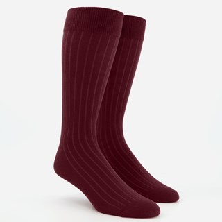 Wide Ribbed Burgundy Dress Socks