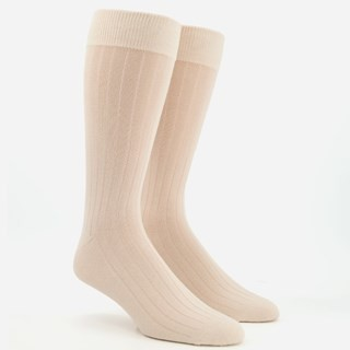 Wide Ribbed Cream Dress Socks