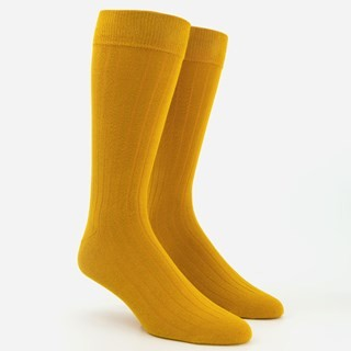 Wide Ribbed Mustard Dress Socks