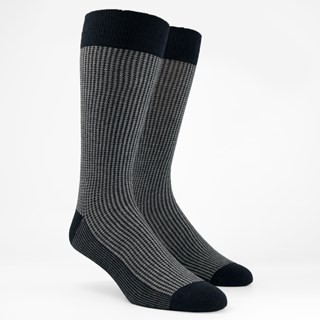 Micro Houndstooth Charcoal Dress Socks