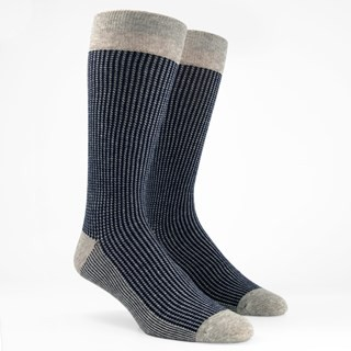 Micro Houndstooth Navy Dress Socks