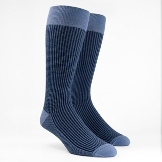 Micro Houndstooth Slate Blue Dress Socks