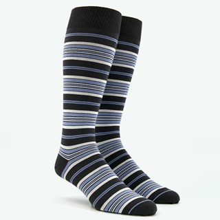 Variegated Stripe Light Blue Dress Socks