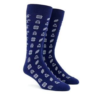 Spirit Hub X Tie Bar Top Shelf Navy Dress Socks