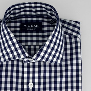 Classic Gingham Navy Non-Iron Dress Shirt