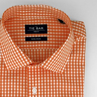Gingham Orange Non-Iron Dress Shirt