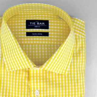 Gingham Yellow Non-Iron Dress Shirt