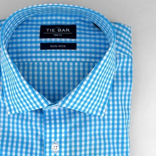Gingham Aqua Non-Iron Dress Shirt