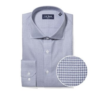 Petite Houndstooth Navy Non-Iron Dress Shirt
