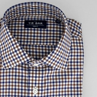 Multi Tone Gingham Navy Non-Iron Dress Shirt