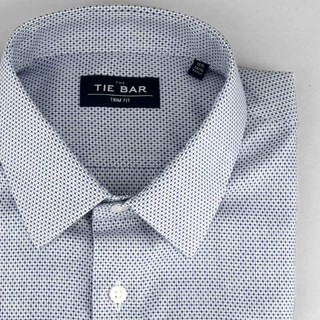 Patterned Crosshatch Blue Non-Iron Dress Shirt