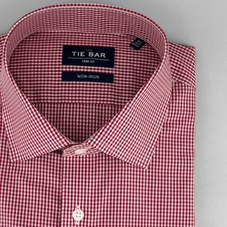 Petite Gingham Brick Red Non-Iron Dress Shirt