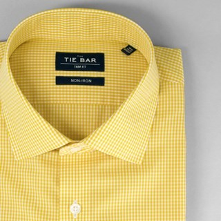 Petite Gingham Goldenrod Non-Iron Dress Shirt