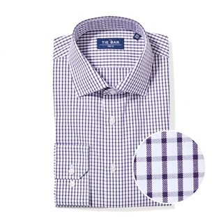 Petite Bold Check Eggplant Non-Iron Dress Shirt