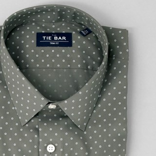 Printed Dot Charcoal Non-Iron Dress Shirt