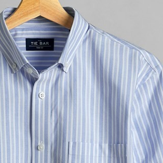 Oxford Vertical Stripe Sky Blue Casual Shirt
