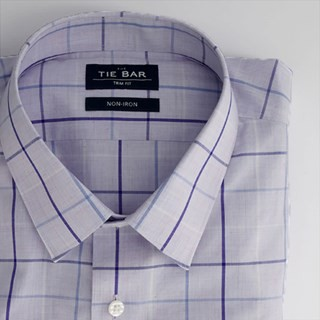 Oversized Tattersall Lavender Non-Iron Dress Shirt