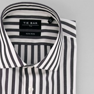 Cabana Stripe Black Dress Shirt