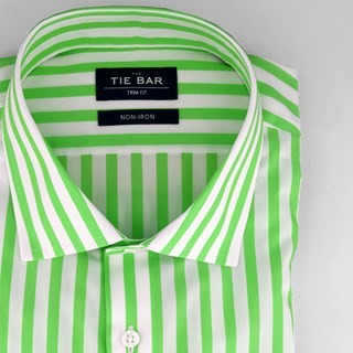 Cabana Stripe Lime Non-Iron Dress Shirt
