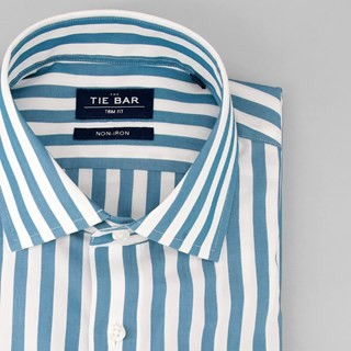 Cabana Stripe Teal Non-Iron Dress Shirt