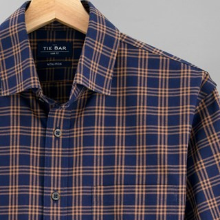 Checked Flannel Navy Non-Iron Casual Shirt