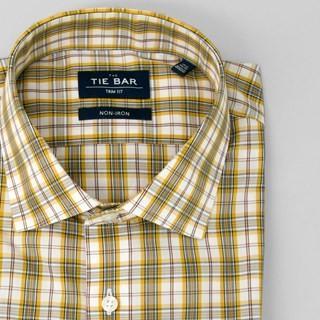 Dress Plaid Yellow Non-Iron Dress Shirt