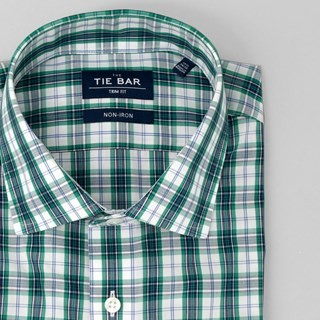 Dress Plaid Green Non-Iron Dress Shirt