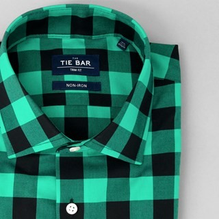 New Buffalo Check Sea Green Non-Iron Dress Shirt