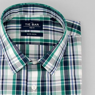 Large Dress Plaid Blue Non-Iron Dress Shirt