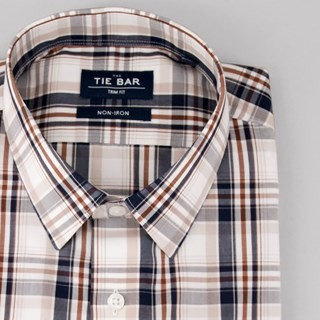 Large Dress Plaid Navy Non-Iron Dress Shirt