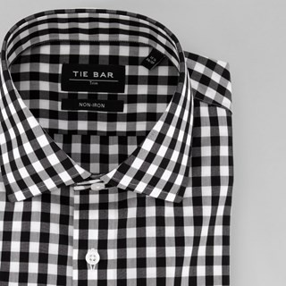 Oversized Gingham Black Dress Shirt