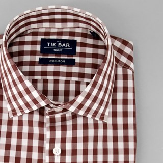 Oversized Gingham Brown Non-Iron Dress Shirt