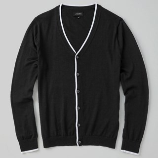 Perfect Tipped Merino Wool Cardigan Black Sweater