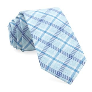 Anthem Plaid Aqua Tie