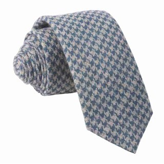 Brushed Cotton Houndstooth Navy Tie