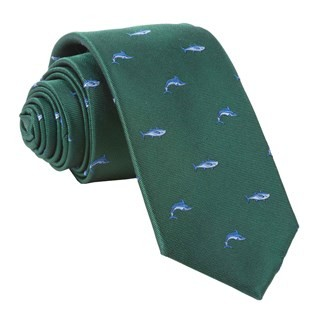 Go Fish Hunter Green Tie