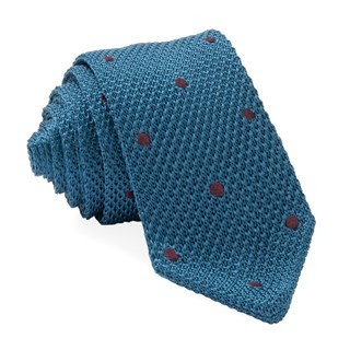 Pointed Tip Knit Polkas Teal Tie